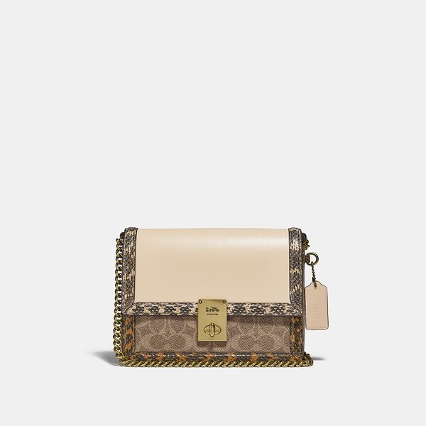 Hutton Shoulder Bag In Signature Canvas With Snakeskin Detail