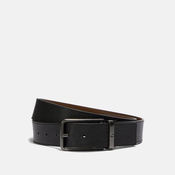 Square Buckle Cut-To-Size Reversible Belt, 38mm, QB/BLACK/DARK SADDLE, hi-res