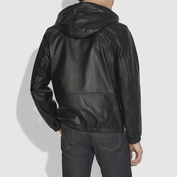 Reversible Hooded Leather Trainer, BLACK, hi-res