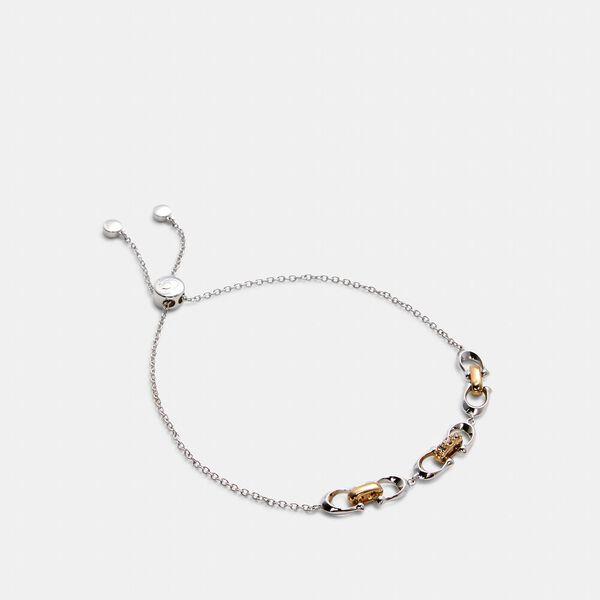 Linked Signature Slider Bracelet, SILVER/GOLD, hi-res