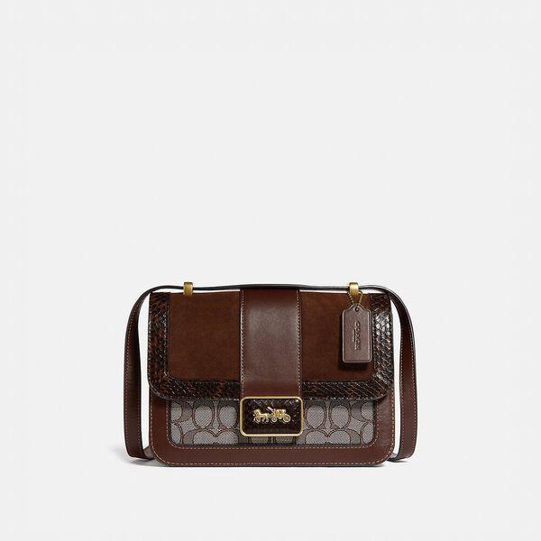 Alie Shoulder Bag In Signature Jacquard With Snakeskin Detail, B4/OAK MAPLE, hi-res