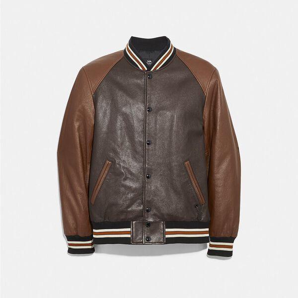 Leather Varsity Jacket, MAHOGANY DARK FAWN, hi-res