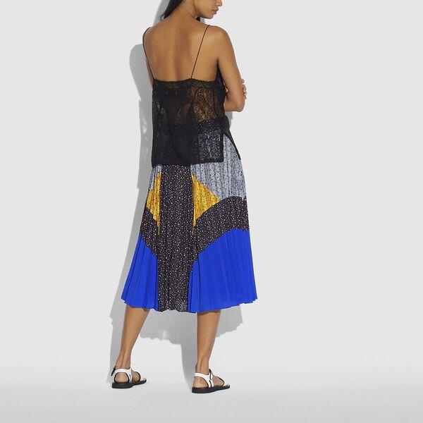 Mix Pleated Skirt, Black/Blue/Grey/Yellow, hi-res