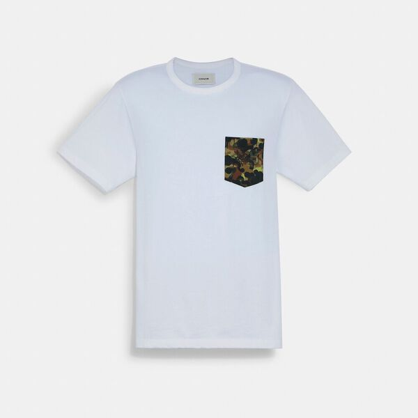 Solid Camo Print Pocket T-Shirt In Organic Cotton