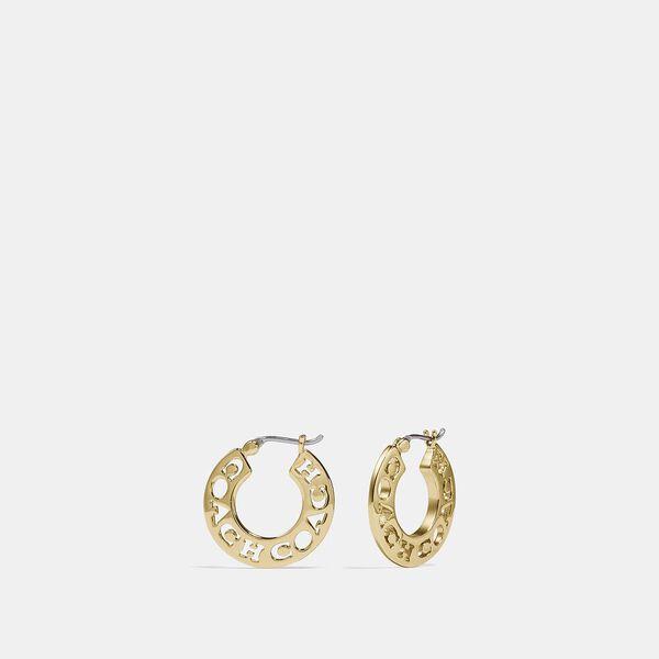 Pierced Coach Hoop Earrings, GOLD, hi-res