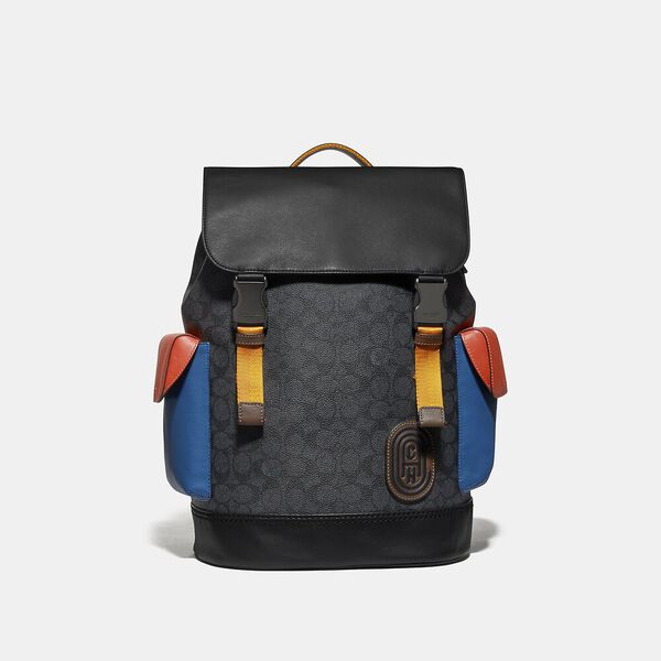 Rivington Backpack In Colorblock Signature Canvas With Coach Patch