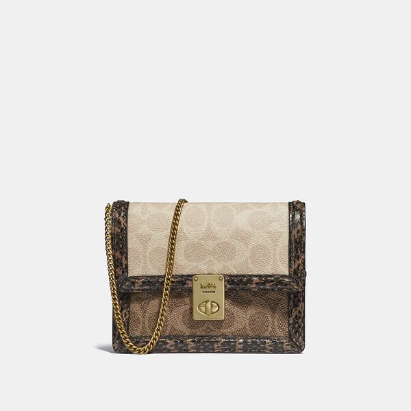 Hutton Belt Bag In Blocked Signature Canvas With Snakeskin Detail