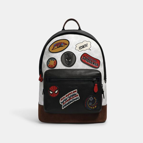 Coach x Marvel West Backpack In Signature Canvas With Patches