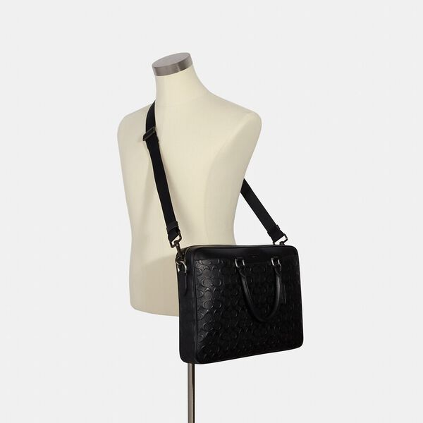 Beckett Slim Brief In Signature Leather, NI/BLACK, hi-res