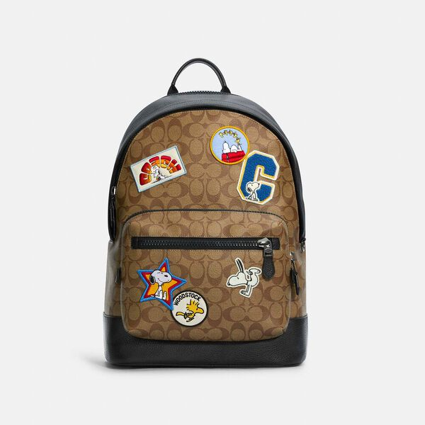 Coach X Peanuts West Backpack In Signature Canvas With Varsity Patches