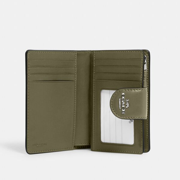 Medium Corner Zip Wallet In Signature Canvas, SV/KHAKI/SURPLUS, hi-res