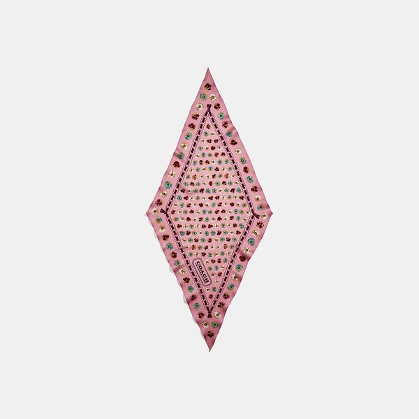 Painted Tea Rose Floral Print Silk Diamond Scarf