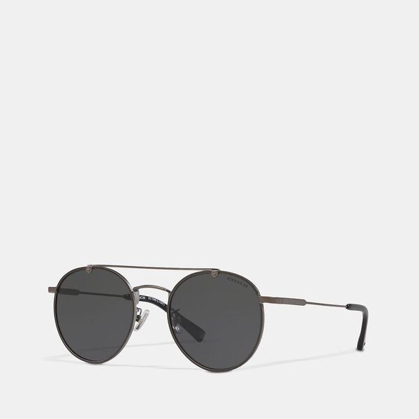 Thin Metal Round Sunglasses, GREY, hi-res