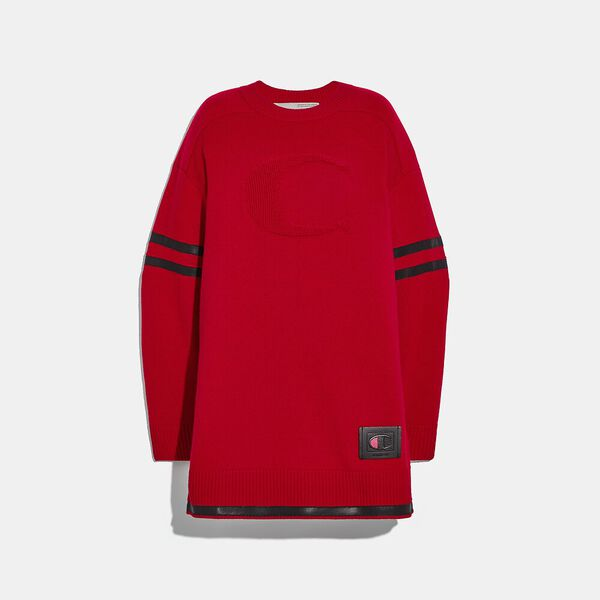 Coach X Champion Sweater Dress, RED, hi-res