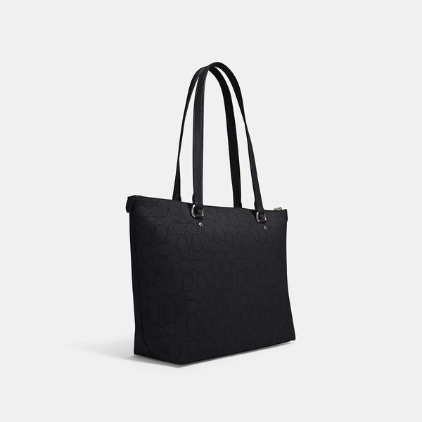 Gallery Tote In Signature Leather, SV/MIDNIGHT, hi-res