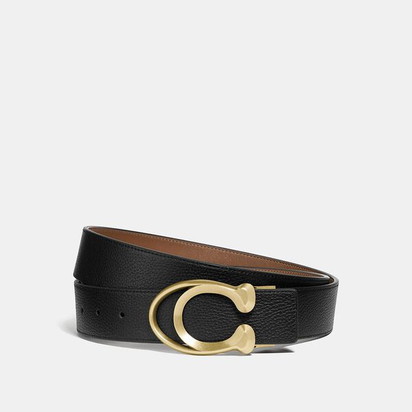 Signature Buckle Belt, 38Mm, BLACK/SADDLE, hi-res
