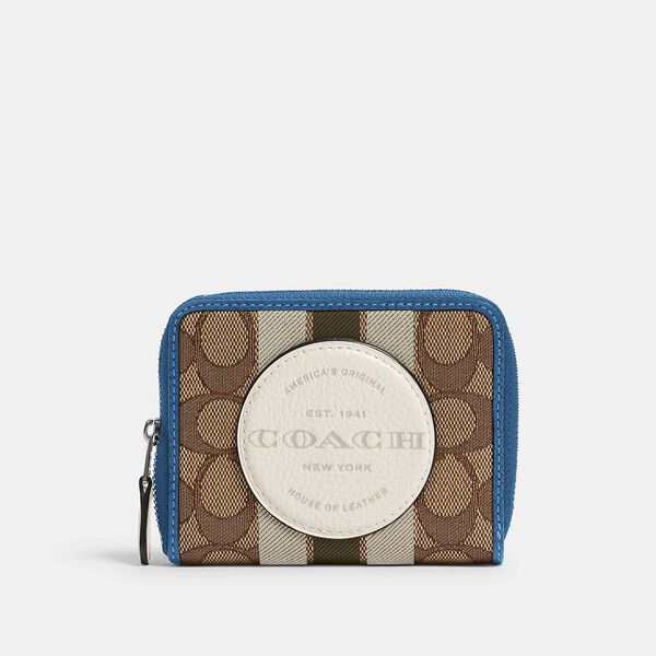Dempsey Small Zip Around Wallet In Signature Jacquard With Stripe And Coach Patch, SV/KHAKI CLK PALE GREEN MULTI, hi-res