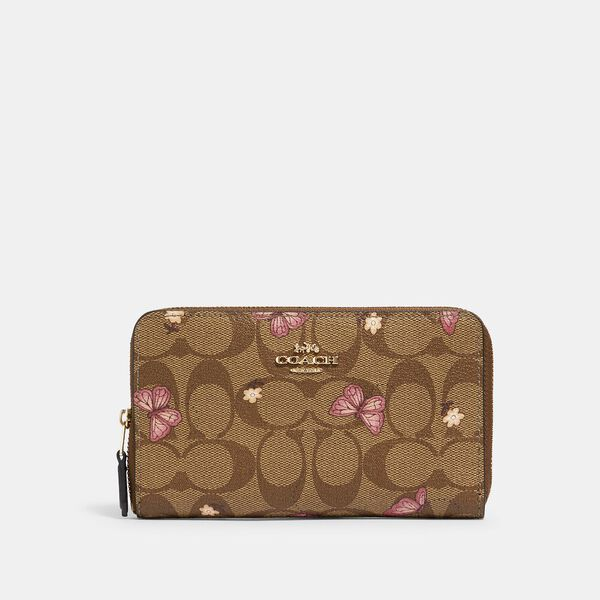 Medium Zip Around Wallet In Signature Canvas With Butterfly Print