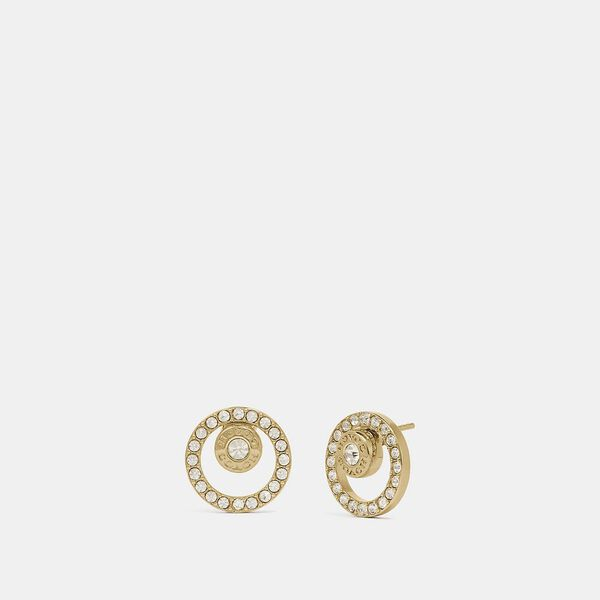 Open Circle Halo Stud Earrings, GOLD, hi-res