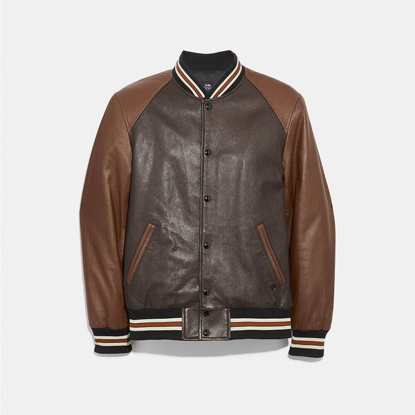 Leather Varsity Jacket, MAHOGANY DARK FAWN, hi-res