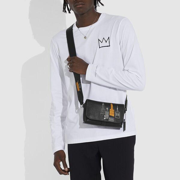 Coach X Basquiat Rogue Crossbody 20 In Glovetan Pebble In Mecca, BLACK, hi-res