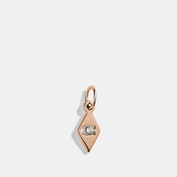 Collectible Geometric Signature Charm, ROSE GOLD/CLEAR, hi-res
