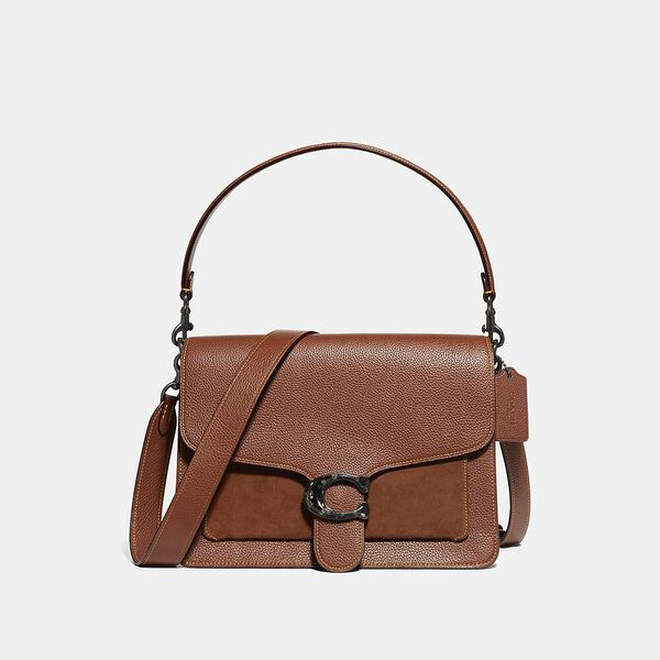 Mixed Leather Suede Pocket With Resin C Closure Tabby Shoulder Bag