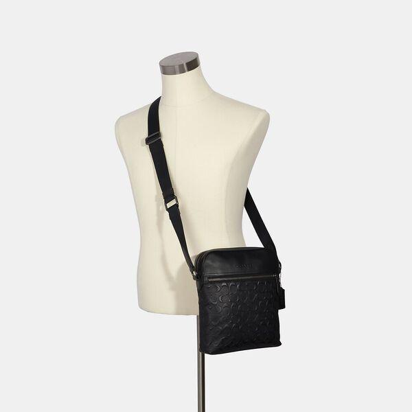 Houston Flight Bag In Signature Leather, QB/BLACK, hi-res