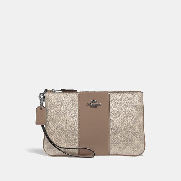 Small Wristlet In Colorblock Signature Canvas, LH/SAND TAUPE, hi-res