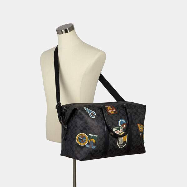 Trekker Bag In Signature Canvas With Travel Patches, QB/CHARCOAL BLACK, hi-res