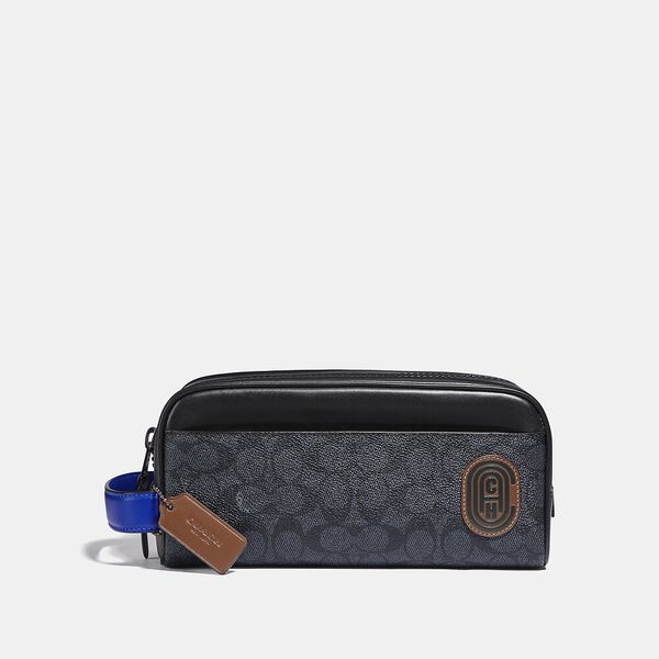 Travel Kit In Signature Canvas With Coach Patch