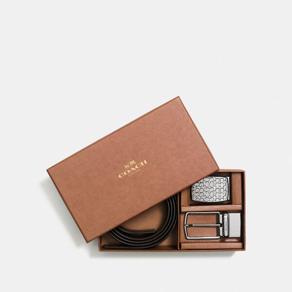 Boxed Signature Plaque And Harness Buckle Cut-To-Size Reversible Belt, 30mm, BLACK/DARK BROWN, hi-res