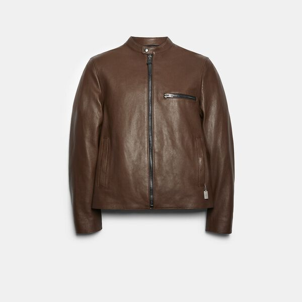 Leather Racer Jacket, DARK FAWN, hi-res