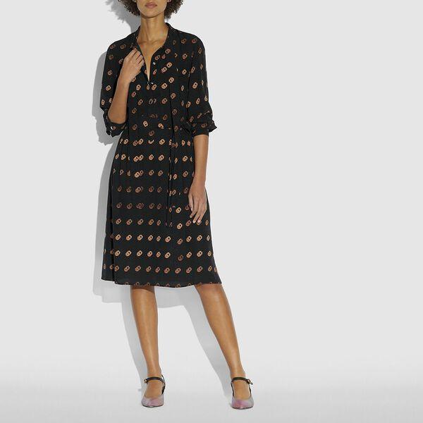 Print Tie Neck Dress, BLACK/ORANGE, hi-res