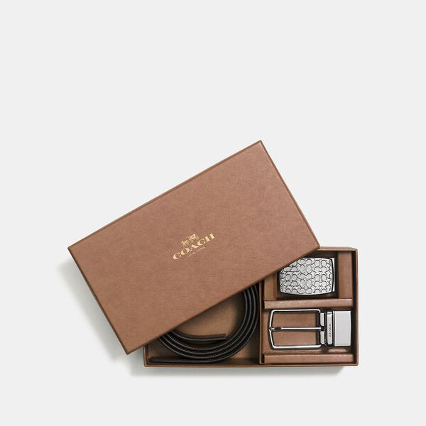 Boxed Plaque And Harness Buckle Cut-To-Size Reversible Belt, 32mm, BLACK/DARK BROWN, hi-res