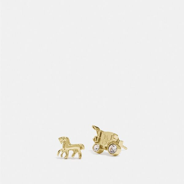 Horse And Carriage Stud Earrings, GOLD, hi-res