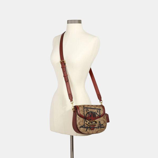 Jade Saddle Bag In Signature Canvas With Rexy By Guang Yu, OL/KHAKI MULTI, hi-res