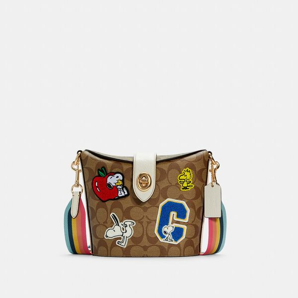 Coach X Peanuts Addie Crossbody In Signature Canvas With Varsity Patches