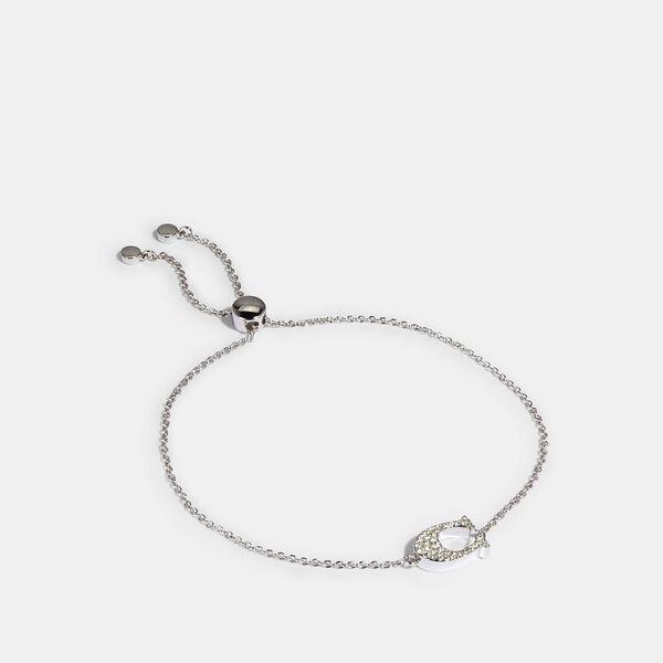 Pave Signature Slider Bracelet, SILVER, hi-res