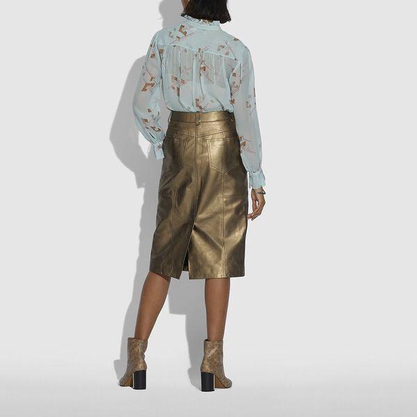 Metallic Leather Midi Skirt, PYRITE, hi-res