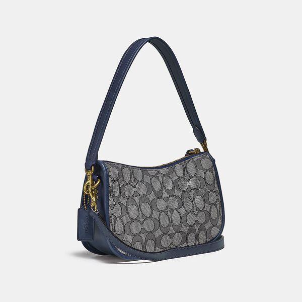 Swinger Bag In Signature Jacquard, B4/NAVY MIDNIGHT NAVY, hi-res