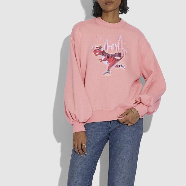 Rexy City Skyline Sweatshirt With Puff Sleeve, DARK PINK, hi-res