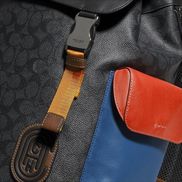 Rivington Backpack In Colorblock Signature Canvas With Coach Patch, JI/CHARCOAL MULTI, hi-res