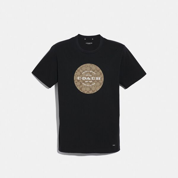 Coach Signature T-Shirt, BLACK, hi-res