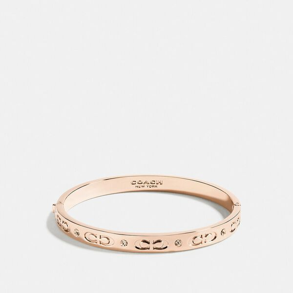 Signature Hinged Bangle, ROSEGOLD, hi-res