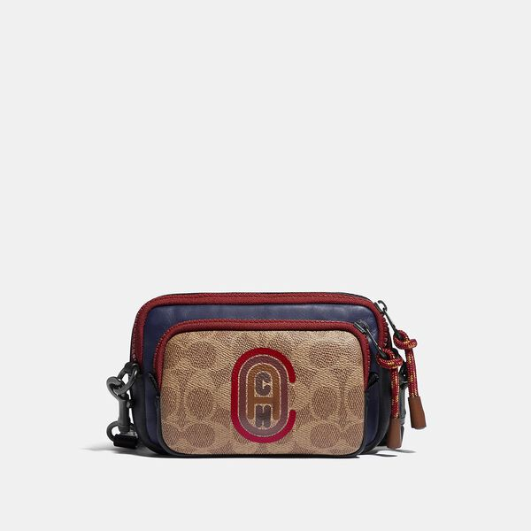 Pacer Convertible Double Pouch In Colorblock Signature Canvas With Coach Patch, TRUE NAVY MULTI, hi-res