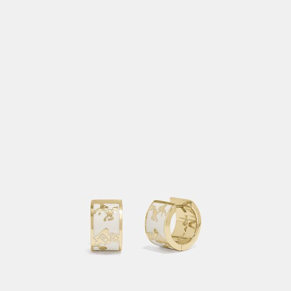 Horse And Carriage Huggie Earrings, GOLD/CHALK, hi-res