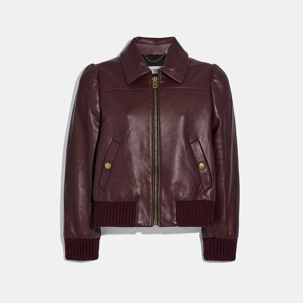 Leather Tailored Bomber Jacket