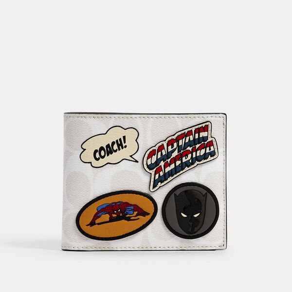 Coach x Marvel 3-In-1 Wallet In Signature Canvas With Patches, QB/CHALK MULTI, hi-res
