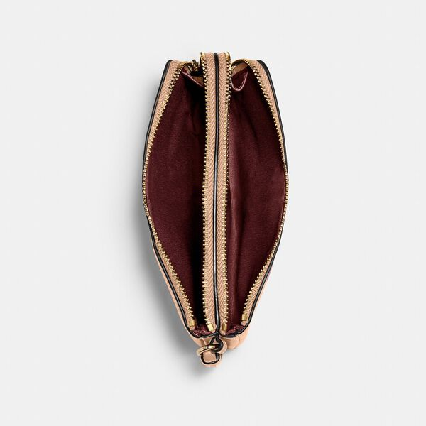Double Corner Zip Wristlet, IM/TAUPE, hi-res